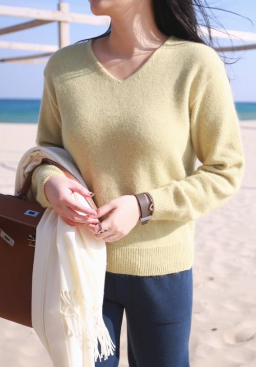 Ribbed Cuff and Hem V-Neck Sweater
