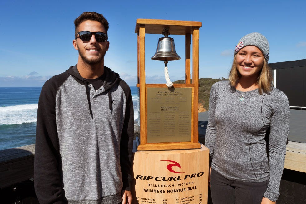 37 Rip Curl Pro Bells Beach 2015 Filipe Toledo and Carissa Moore WSL Kelly Cestari