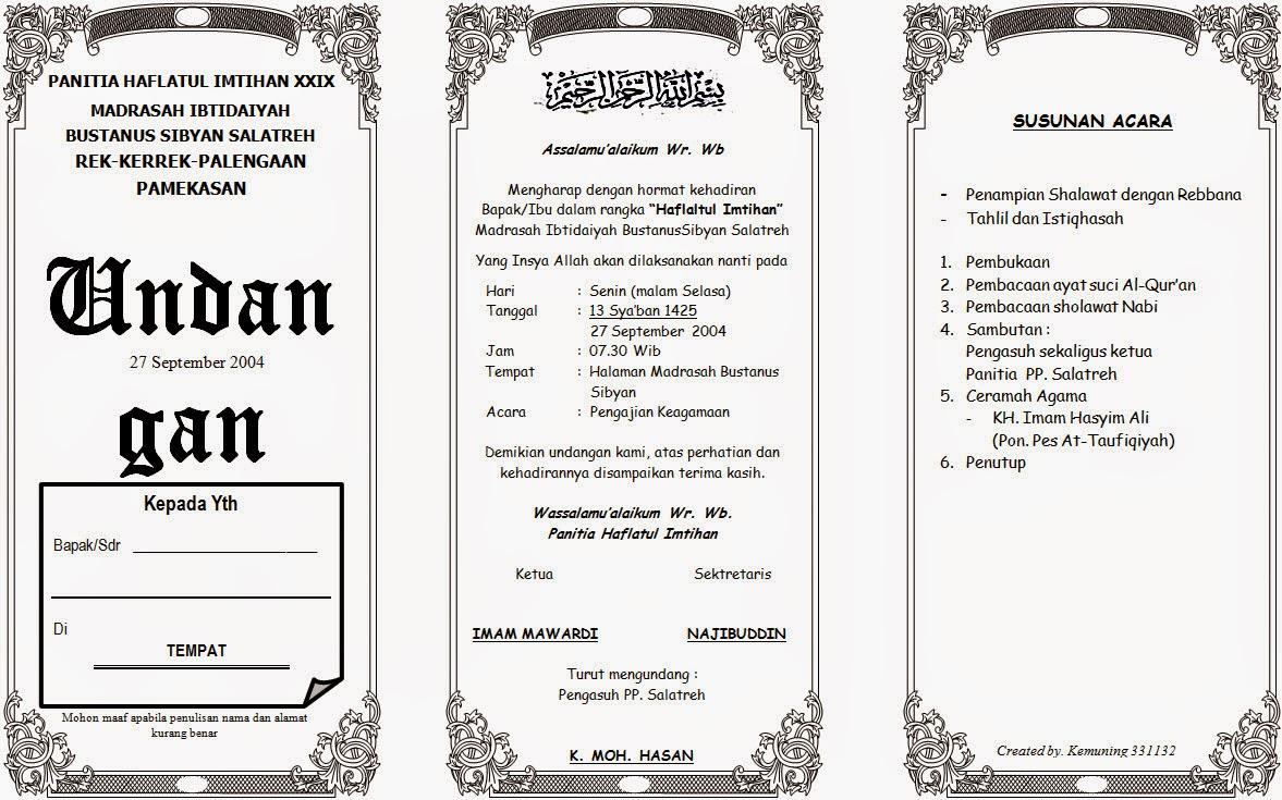 contoh undangan pengajian 2019 2020 januari 2020