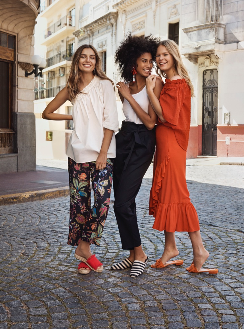 Andreea Diaconu, Imaan Hammam and Anna Ewers front H&M's spring 2018 campaign