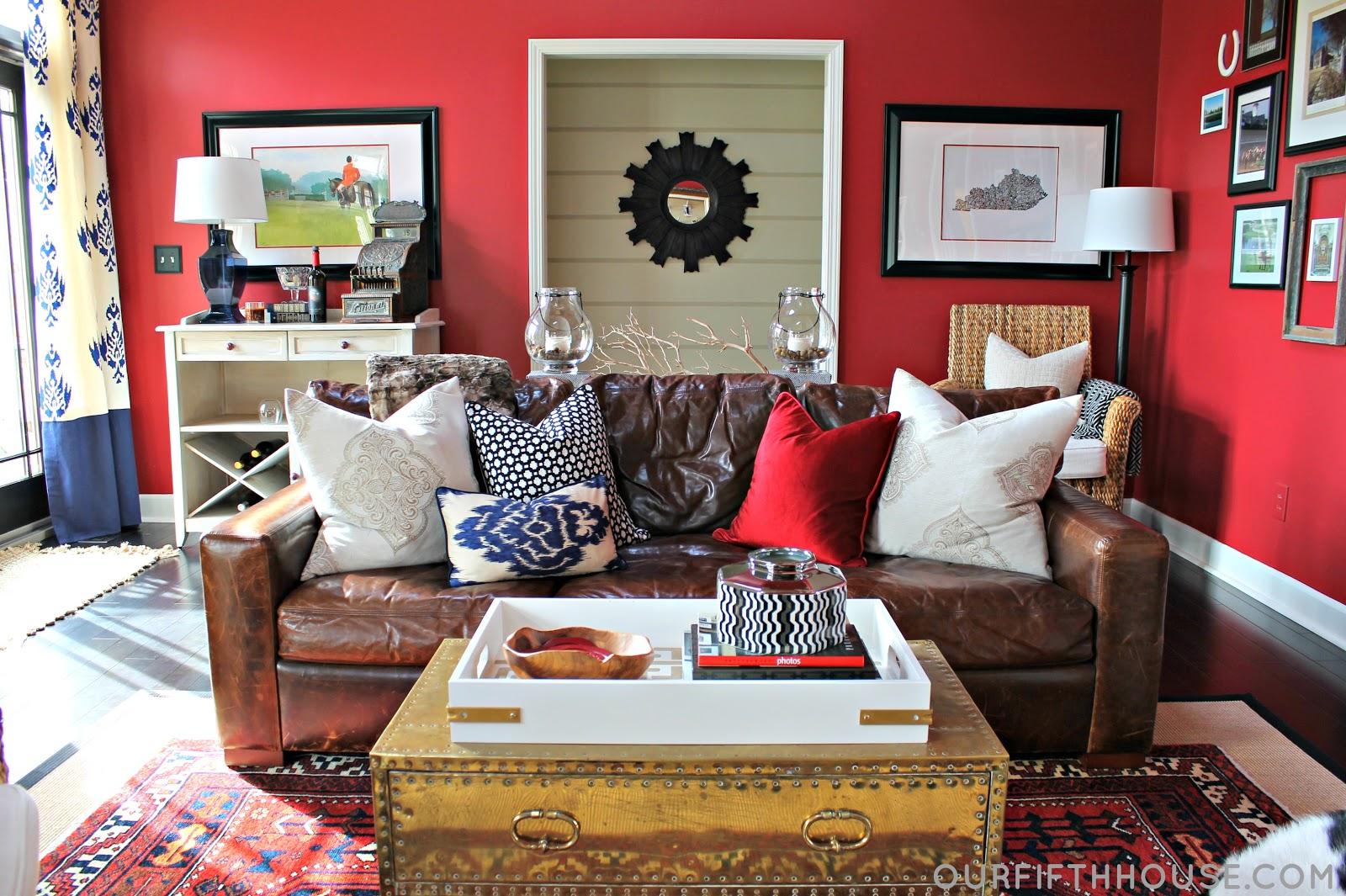 Red family room with lots of pattern