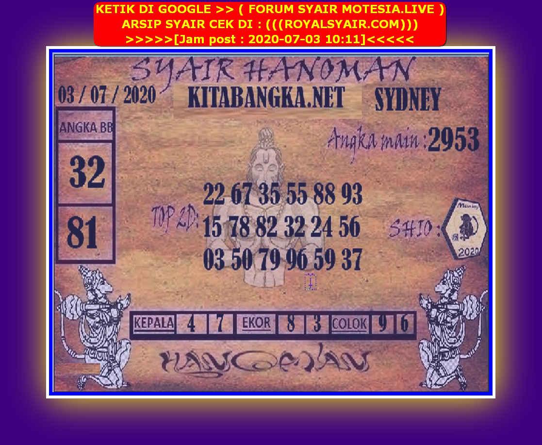 Kode syair Sydney Jumat 3 Juli 2020 168