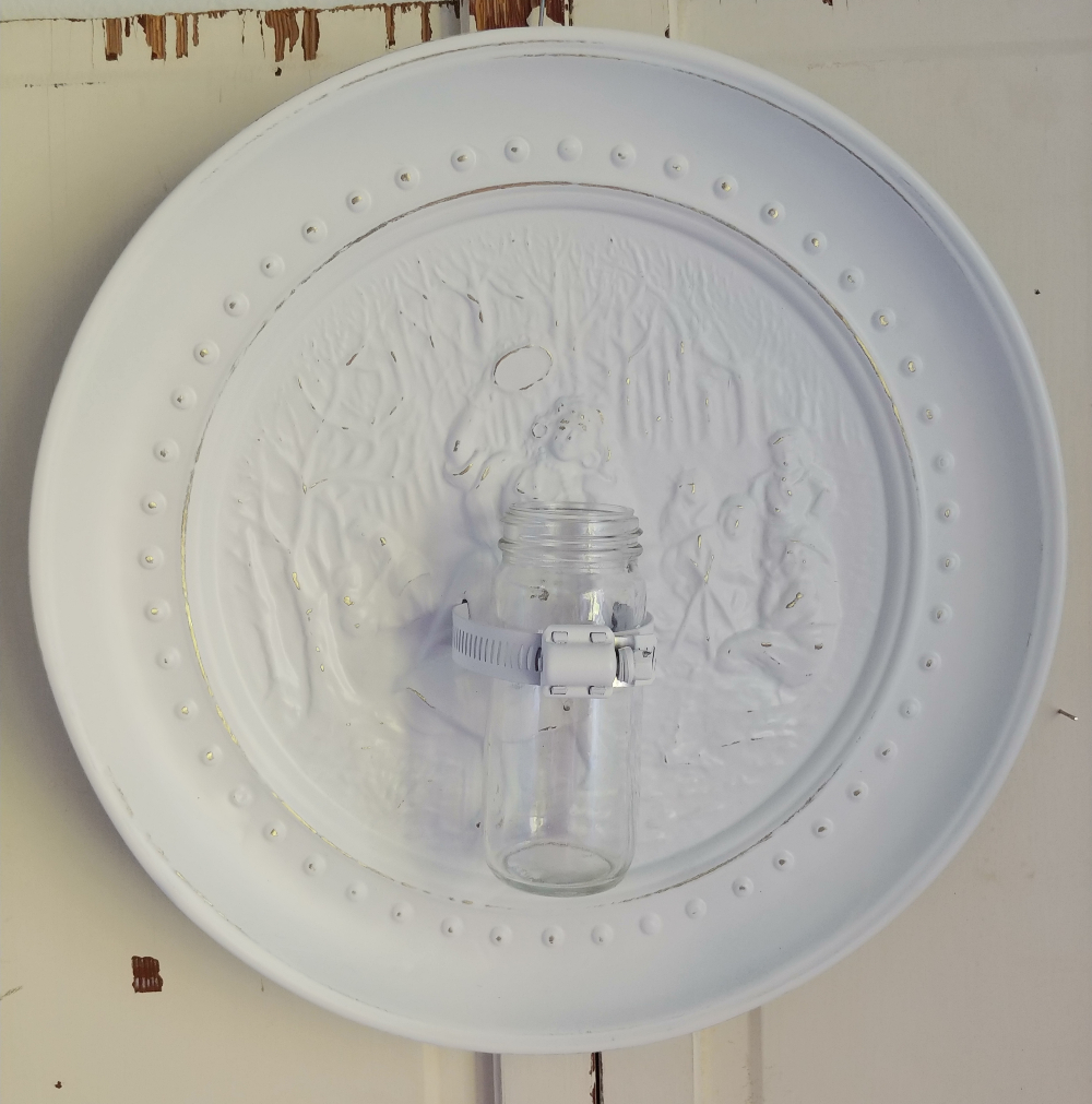 repurposed plate to wall vase