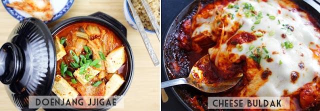 Comidas Coreanas: Doenjangjjjigae e CheeseBuldak