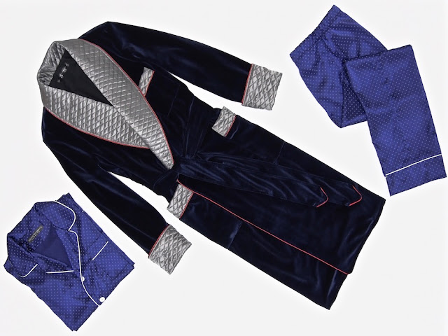Mens velvet dressing gown quilted robe smoking jacket navy blue