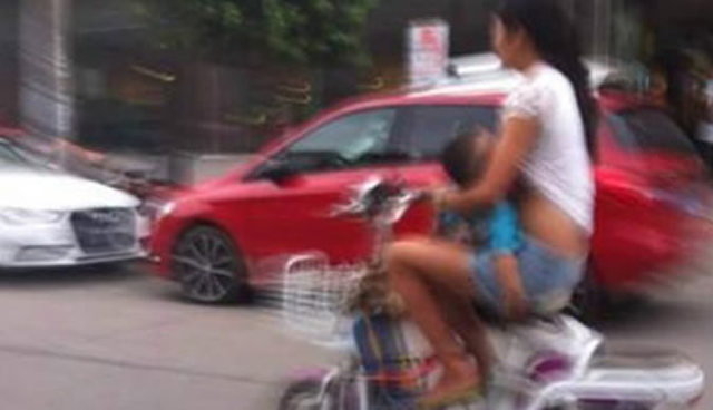 breastfeeding on bike