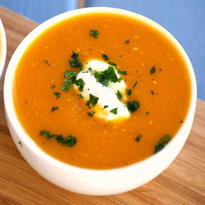 Healthy Homemade Pumpkin and Lentil Soup Recipe - low fat, gluten free, vegan