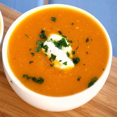 Healthy Homemade Pumpkin and Lentil Soup Recipe - low fat, gluten free, vegan