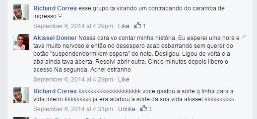 Comentário no grupo do festival no Facebook