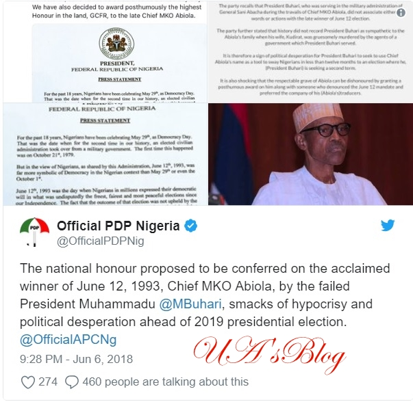 Declaration of June 12th As Democracy Day: Buhari Is Hypocritical, Desperate About 2019 - PDP Blasts