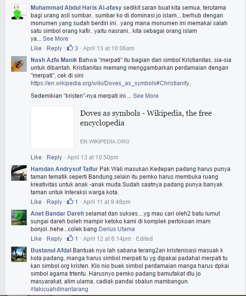 komentar netizen yang menyayangkan keberadaan monumen