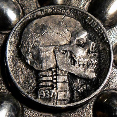 Skull hobo nickel, 1937