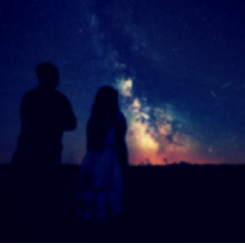 couple under the night sky