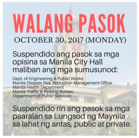 walang pasok in Manila October 30