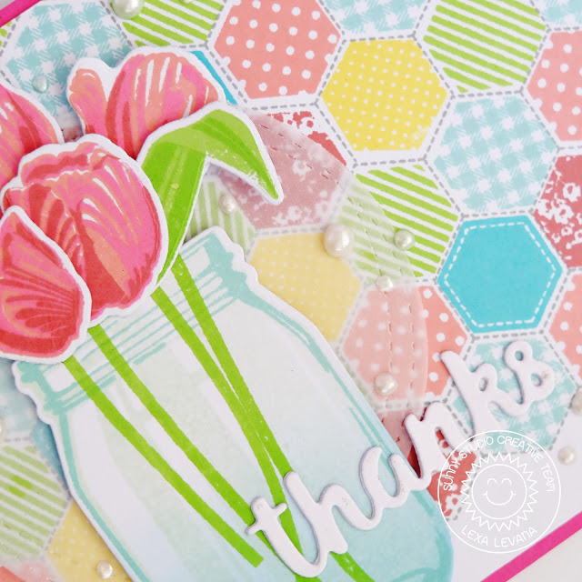 Sunny Studio Stamps: Quilted Hexagons Colorful Quilted Background Thank You Card by Lexa Levana