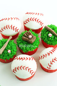 Baseball Cupcakes on Worth Pinning (Image & Cupcakes by Carrie)