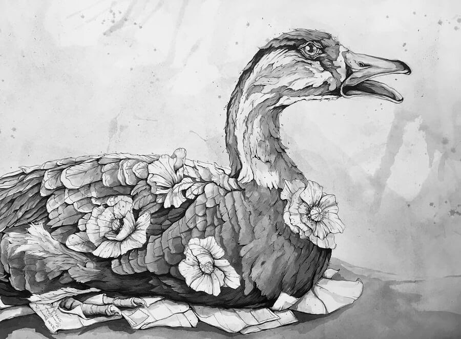 04-Goose-A-Landerman-Animal-Drawings-Paintings-in-Graphite-and-Ink