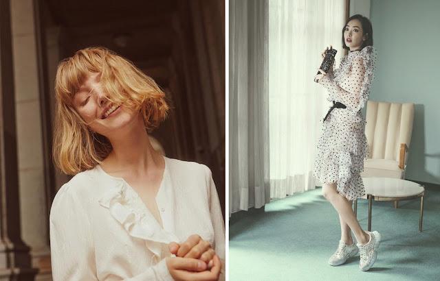 Белая блузка с рюшами и платье в горошек с оборками с кроссовками для романтика