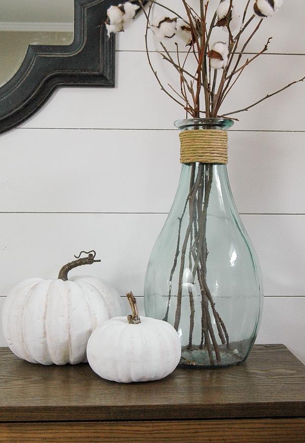 Chalk painted faux pumpkins