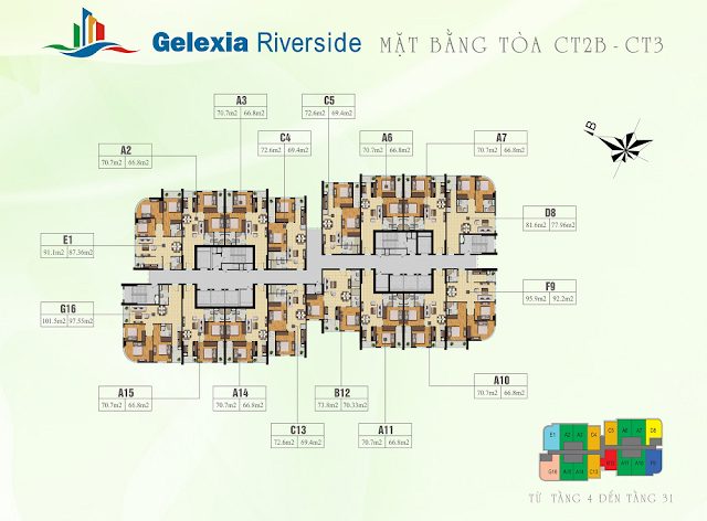 Mặt bằng tòa CT2B - CT3 chung cư Gelexia Riverside