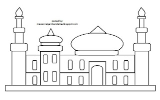 Gambar Sketsa Mewarnai Masjid Terbaru 201714