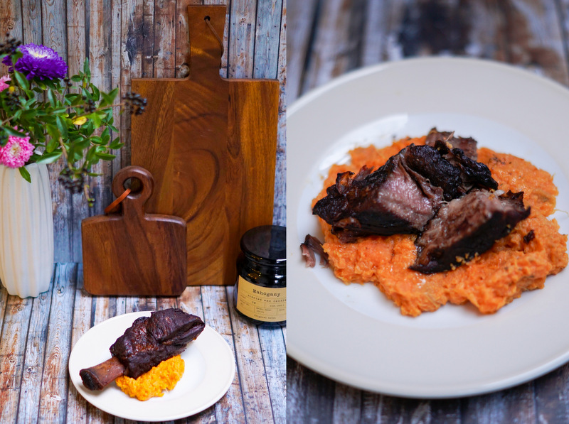 Stewed Beef Ribs with Sweet Potato Mash {Smitten Kitchen - Eine Kleine Küche in New York}, H&M Kerze Mahagony IKEA Vase; geschmorte Rinderrippe