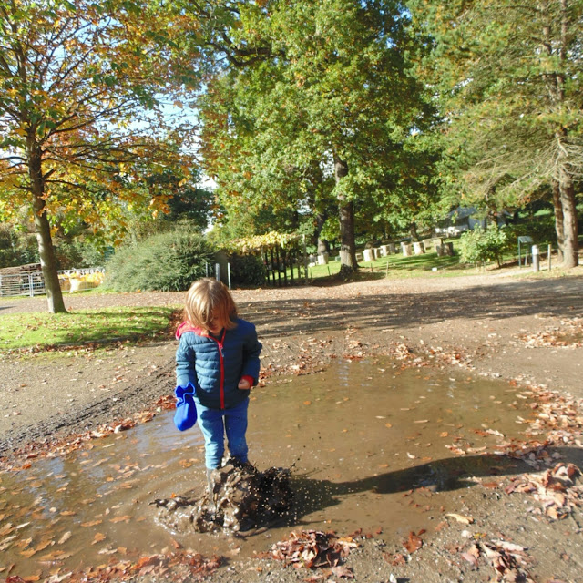 Boy splashing in muddy puddle