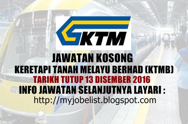 Jawatan Kosong Keretapi Tanah Melayu Berhad (KTMB) Disember 2016