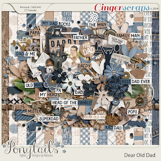 Creative Team, Annemarie, for GingerScraps –- Dear Old Dad Bundle, Ponytails Digital Designs and Coordinating Freebie