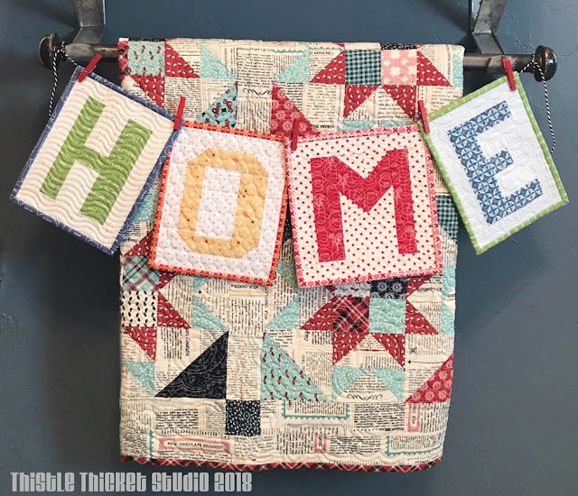 Home Mini Quilts Made By Thistle Thicket Studio. www.thistlethicketstudio.com