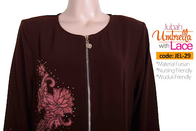 Jubah Umbrella Lace JEL-29 Brown Depan