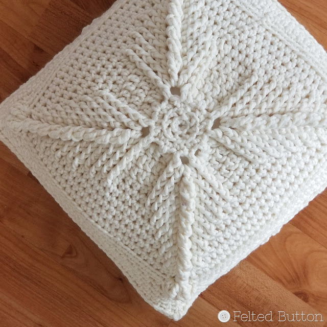 Asanas Pillow -- free crochet pillow cover by Susan Carlson of Felted Button