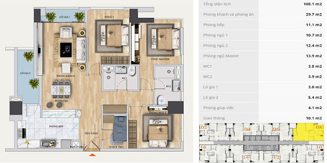Mặt bằng căn hộ A-08 chung cư Mon Central