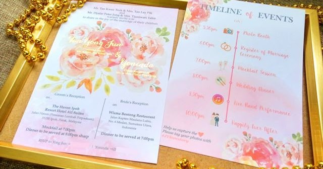 watercolour flower gold stamping wedding card malaysia