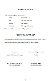 Contoh Surat Pernyataan Keaslian Penelitian Karya Tulis