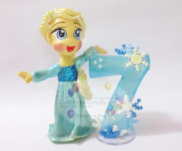 """Topo de bolo - Princesa Elza """"Frozen"""""""