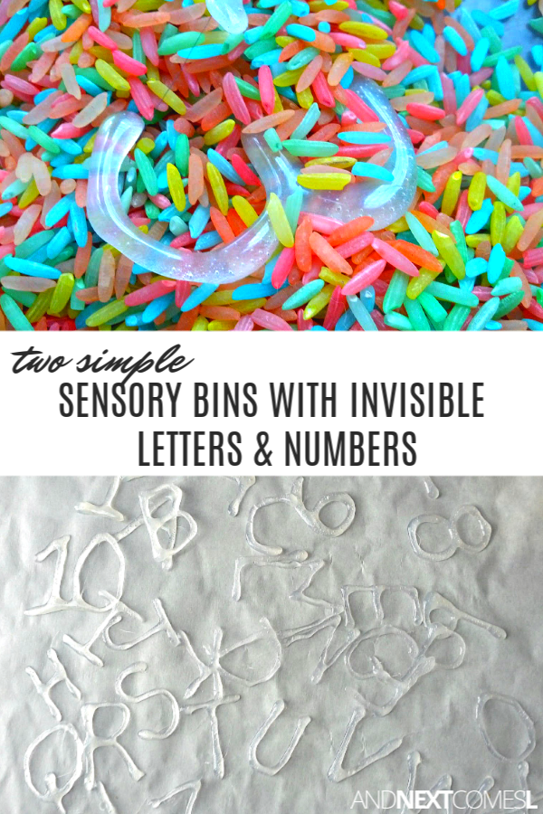 2 simple sensory bins for kids using invisible letters and numbers made out of hot glue