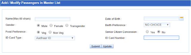 Master List to update passenger Aadhaar number for railway ticket booking irctc 6 ticket per month