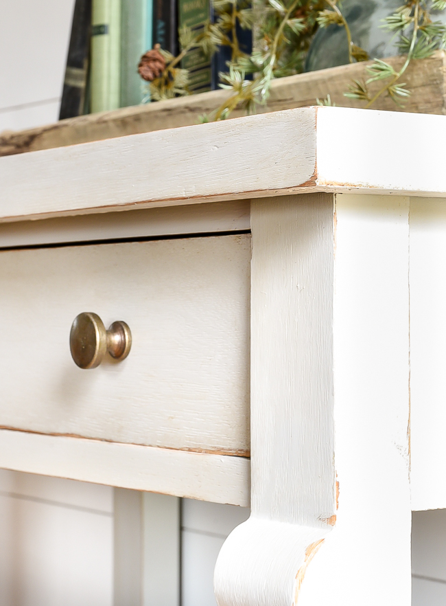Gray painted table with gold hardware