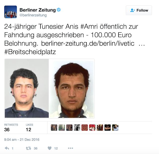Berlin Suspect: Police Offer €100 000 Reward