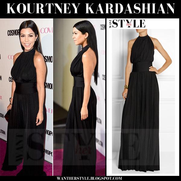 0fb10fa2f67b Kourtney Kardashian in black halterneck balmain jumpsuit what she wore red  carpet