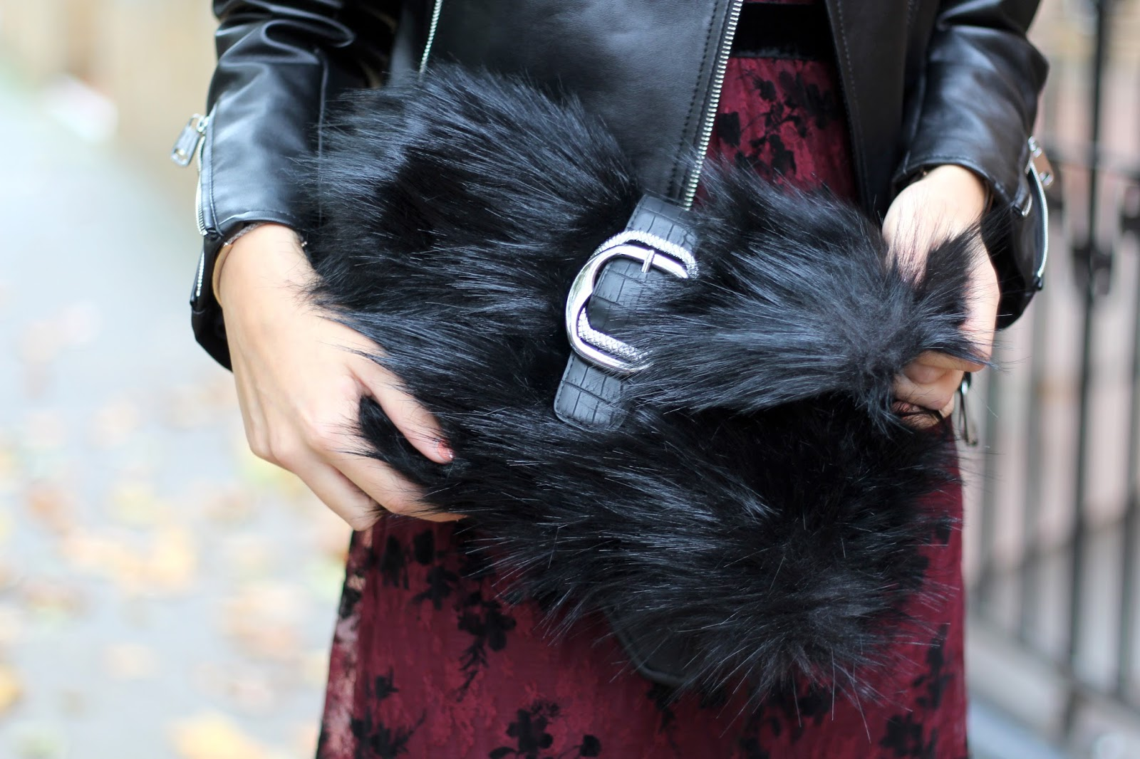 faux fur bag new look peexo halloween