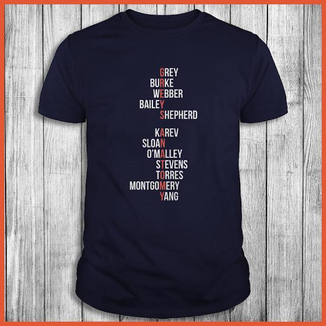 Greys Anatomy Grey Burke Webber Bailey Shepherd Karev Sloan Shirt