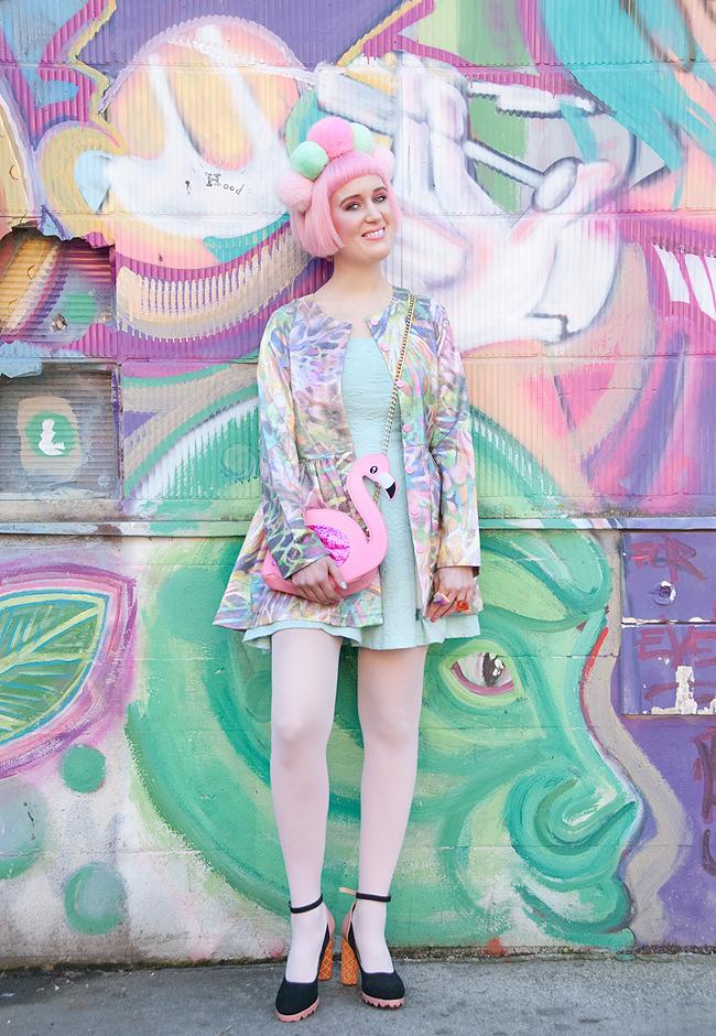 pastel outfit, kawaii look, pompom headband