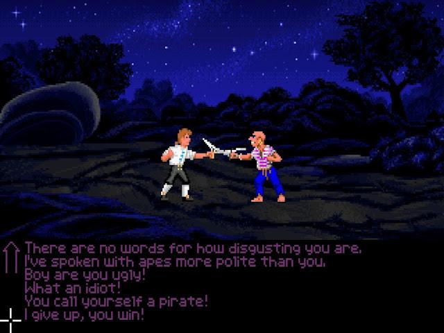 video game - The Secret of Monkey Island - original - Guybrush Threepwood fights a pirate