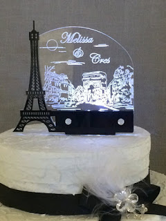 Paris Light Up wedding cake toppers