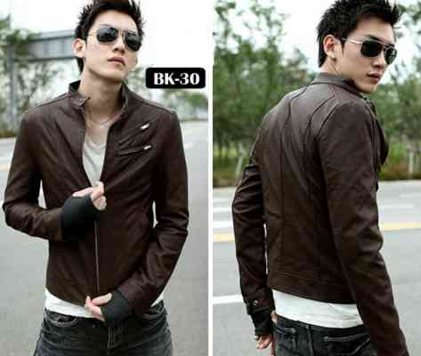 desain jaket kulit korean style warna coklat