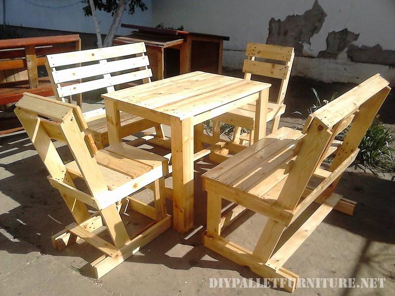 Set de sillas y mesa para la terraza for Sillas hechas de palets