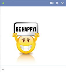 Be happy emoticon sticker for Facebook