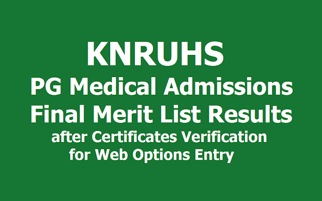 KNRUHS PG Medical Admissions Final Merit List after Certificates Verification for Web Options entry 2019